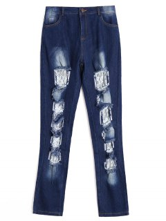 Lace Panel Cut Out Frayed Jeans - Deep Blue S