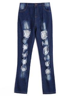 Ausgeschnittene Jeans Mit Spitzenbesatz - Dunkelblau S