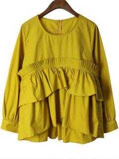 Layered Back Zip Volants Bluse - Gelb