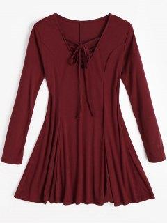 Mini Vestido De Encaje Hasta El Cuello - Rojo Oscuro M