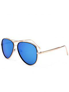 Anti UV Metal Full Frame Crossbar Sunglasses - Sea Blue