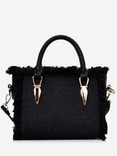 Frayed Edge Denim Tote B - Black