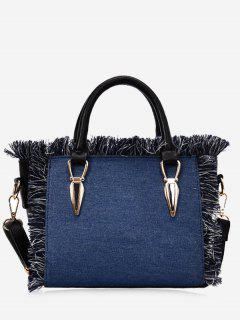 Frayed Edge Denim Tote B - Blue