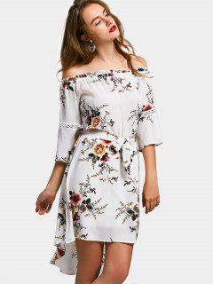 Vestido Alto Bajo Floral De Hombro A La Línea - Blanco S
