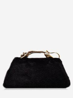 Faux Fur Metal Handle Handbag - Black