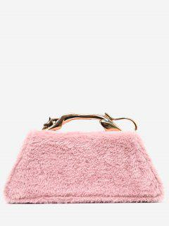 Faux Fur Metal Handle Handbag - Pink