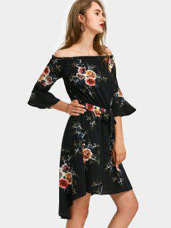 High Low Floral Off Shoulder A Line Dress - Black S