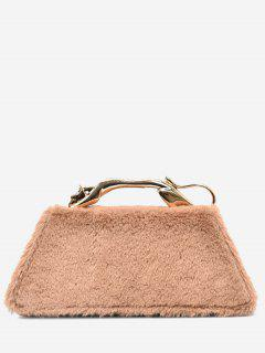 Faux Fur Metal Handle Handbag - Khaki