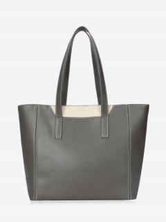 Faux Leather Color Block Shoulder Bag - Gray