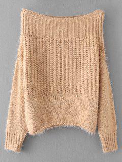 Fuzzy Schulterfrei Pullover - Khaki