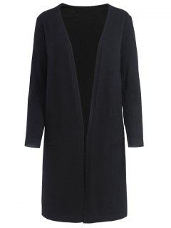 Side Vents Open Front Knit Cardigan - Black