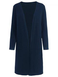 Side Vents Open Front Knit Cardigan - Purplish Blue