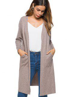 Side Vents Open Front Knit Cardigan - Apricot