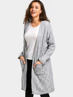 Hollow Out Pockets Longline Cardigan - Light Gray