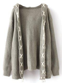 Hooded Criss Cross Open Front Cardigan - Gray