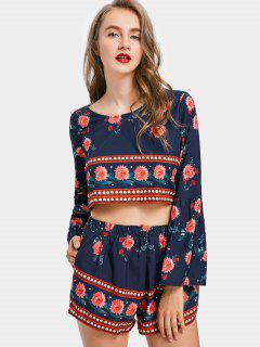 Floral Crop Top And Shorts Set - Purplish Blue S