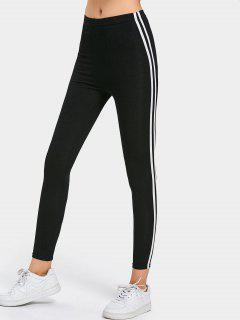 Side Stripe Skinny Pants - Black Xl