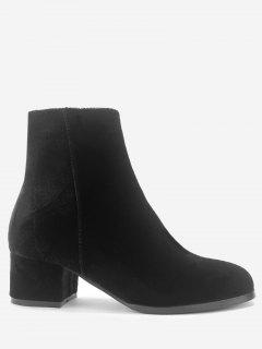 Stacked Heel Almond Toe Velour Ankle Boots - Black 38