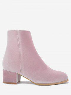 Stacked Heel Almond Toe Velour Ankle Boots - Pink 36