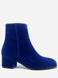 Stacked Heel Almond Toe Velour Ankle Boots - Blue 36