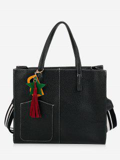 Tassel Letter 2 Pieces Handbag Set - Black