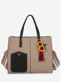 Tassel Letter 2 Pieces Handbag Set - Apricot