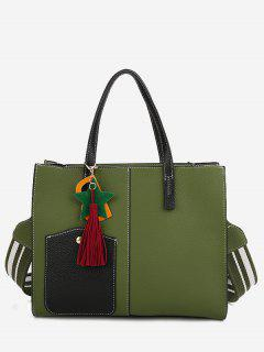 Tassel Letter 2 Pieces Handbag Set - Green