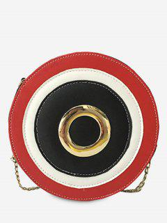 Grommet Color Block Chain Crossbody Bag - Black