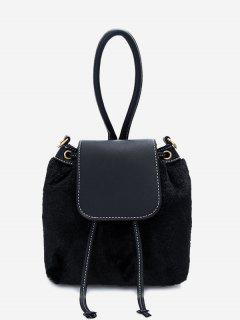 Fluffy Drawstring Cross Body Bag - Black