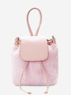 Fluffy Drawstring Cross Body Bag - Pink