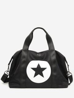 Star Color Block Gym Bag - Black