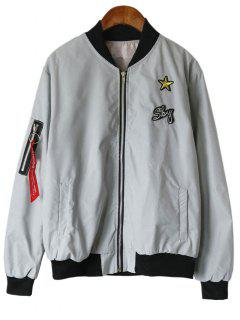 Star Patched Zip Up Bomber Jacket - Gray