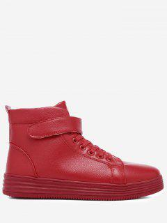 Faux Leather High Top Skate Shoes - Red 40