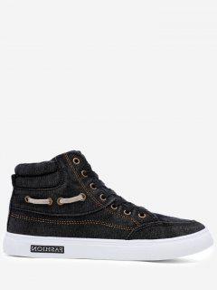 Stitching Denim Letter Skate Shoes - Black 44