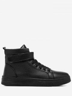 Faux Leather High Top Skate Shoes - Black 42
