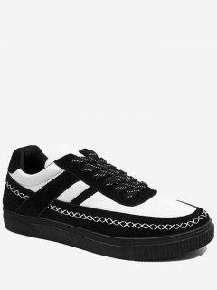Stitching Criss Cross Color Block Skate Shoes - Black White 40