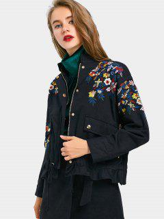 Zip Up Floral Embroidered Denim Jacket - Black L