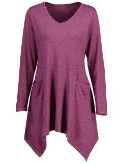Handkerchief V Neck Longline T-shirt - Purplish Red Xl