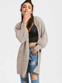 Heathered Lantern Sleeve Open Front Cardigan - Apricot