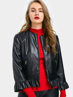 Ruffles Zip Up Faux Leather Jacket - Black S