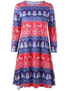 Christmas Elk Snowman Snowflake Long Sleeve Dress - Xl
