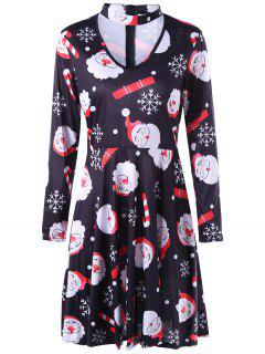 Santa Claus Christmas Snowflake Dress - L