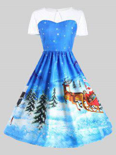 Father Christmas Sleigh Gown Dress - Blue 2xl