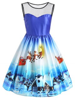 Christmas Sleeveless Snow View Print Vintage Dress - Blue 2xl