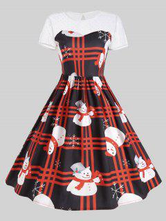 Mesh Panel Plaid Christmas Snowman Party Dress - Red 2xl