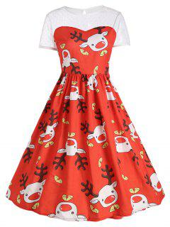 Mesh Panel Cute Christmas Reindeer Party Dress - Red 2xl