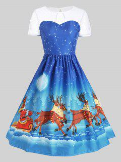Mesh Panel Christmas Santa Claus Sleigh Party Dress - Blue 2xl