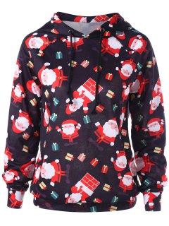 Raglan Sleeve Santa Claus Christmas Hoodie - Red L