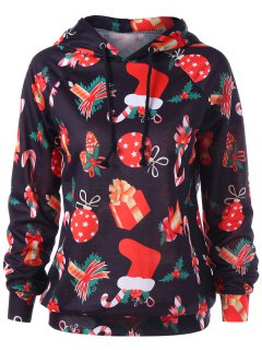 Drawstring Raglan Sleeve Gift Print Christmas Hoodie - Black 2xl
