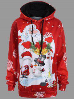 Christmas Santa Claus Kangaroo Pocket Hoodie - Red Xl
